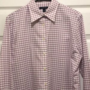 Lands End button down shirt in pink/ blue check